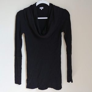 Splendid Black Cowl Neck Long Sleeve Ribbed Top